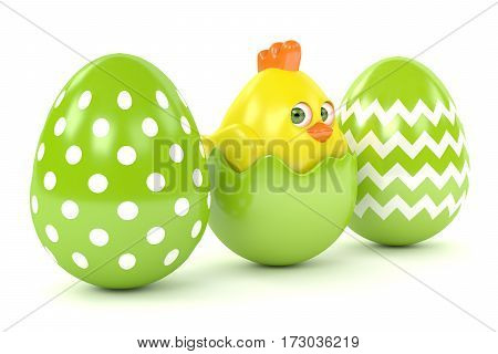 3D Render Of Easter Chick In Eggshell With Eggs