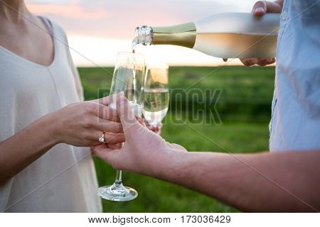Close-up of couple having champagne in field on a sunny day