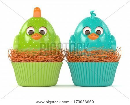 3D Render Of Easter Chicks In Muffin Nests