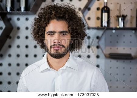 Portrait of bartender standing in bar counter