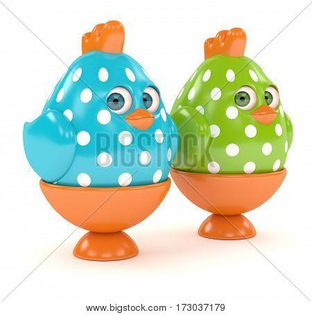 3D Render Of Easter Chicks In Egg Holders