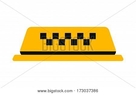 Checker taxi cab on white background. Private american urban checkered travel business sign. City service transportation street vehicle vector illustration.