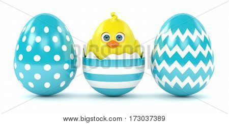 3D Render Of Easter Chick In Eggshell With Painted Eggs