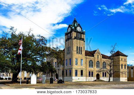 Prattville Alabama USA - January 28 2017: The historic Autauga County Courthouse on Main Street in Prattville.