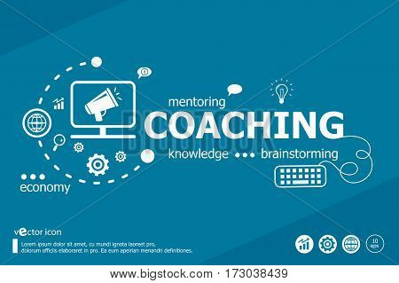 Coaching Related Words And Marketing Concept.