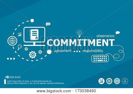 Commitment Related Words And Marketing Concept.