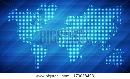 Dotted world map made of glowing dots. Abstract blue light background for your design