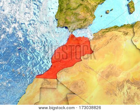 Morocco On Map With Clouds