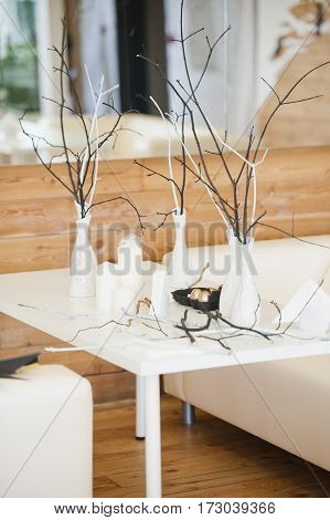 beautiful decorations on the table in a fashionable style