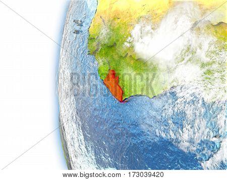 Liberia On Model Of Earth