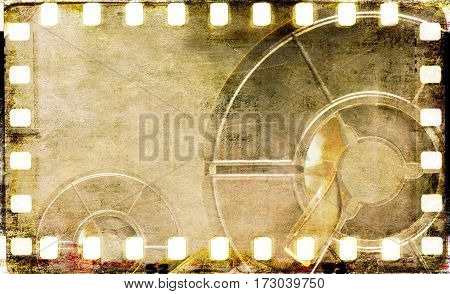 Vintage sepia film strip frame with coil.