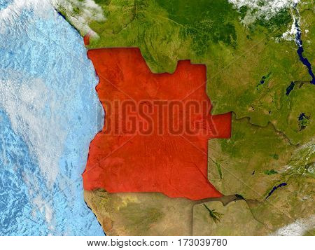 Angola On Map With Clouds