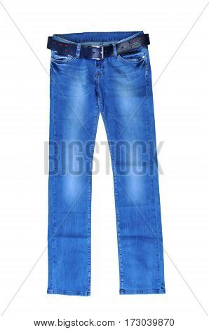 blue jeans for women with dark blue belt. isolated on white background