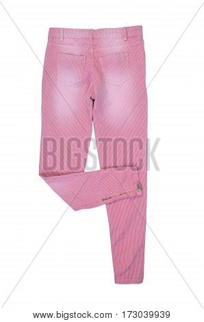 pink striped jeans rear view. isolated on white background