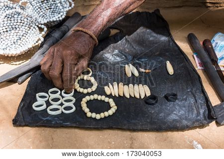 Exotic handmade crafted souvenirs of Vedda people tribe in Sri Lanka