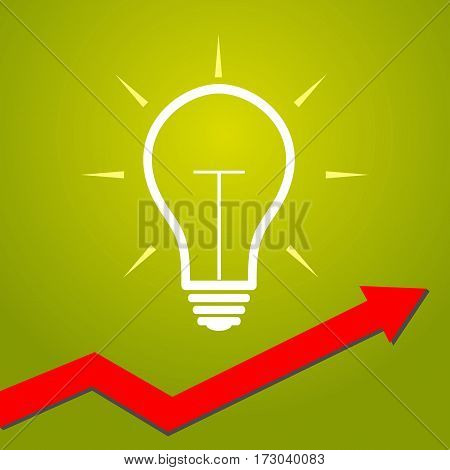 Light bulb with arrow. Concept for start ups creative business innovation ideas and other.