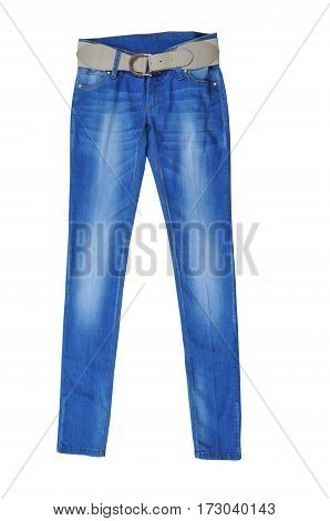 blue pants jeans female with belt. isolated on white background