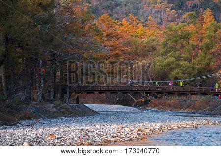 Kamikochi aerial view Hotaka mountains and Kappa bridge on Azusa river in Kamikochi Nagano Japan.