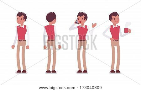 Set of young male typical office worker in a business smart casual wear, standing poses, talking on phone, having a break, drinking coffee, full length, front, rear view, isolated white background