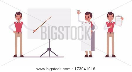 Set of young male typical office worker in a business smart casual wear, standing near empty whiteboard, holding frame, copyspace, presentation of information, full length, isolated, white background
