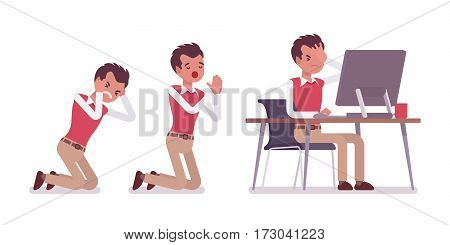 Set of unhappy young male typical office worker in a business smart casual wear, standing on knees, praying for help, working at the desk with monoblock, full length, isolated, white background