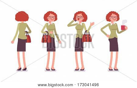 Set of young female typical office worker in a business smart casual wear, standing poses, talking on phone, having a break, drinking coffee, full length, front, rear view, isolated, white background