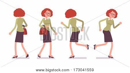 Set of young female typical office worker in a business smart casual wear, walking and running poses, on the way to work, completing task, full length, front and rear view, isolated, white background