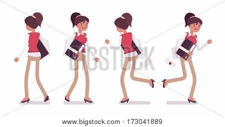 Set of young female typical office worker in a business smart casual wear, walking and running poses, delivering documents, completing task, full length, front, rear view, isolated, white background