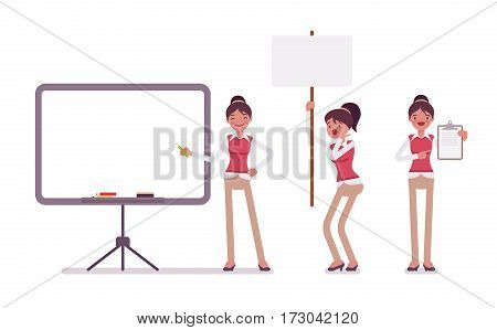 Set of young female office worker in a business smart casual wear, standing near empty marker whiteboard, poster for copyspace, presentation of information, full length, isolated, white background