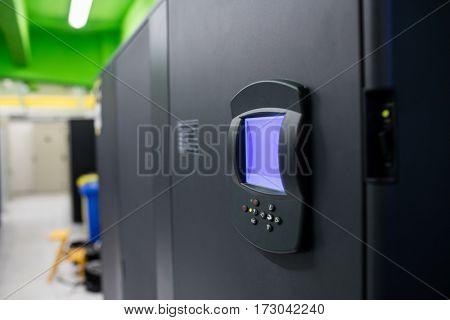Close-up of biometric locks in server room