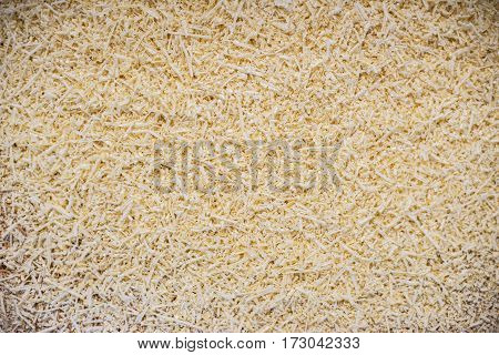yellow wood shavings in a carpenter's workshop