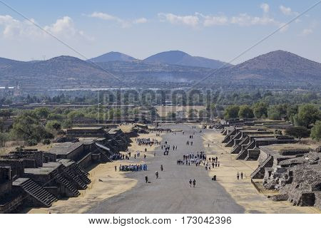 Aerial View Of The Avenue Of The Dead From Pyramid Of The Moon
