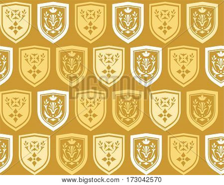 Emblems, seamless background, gold, vector.  Vector background with white and yellow coat of arms on a gold background. The coat of arms depicts twigs and flowers. The coat of arms. Natural pattern.