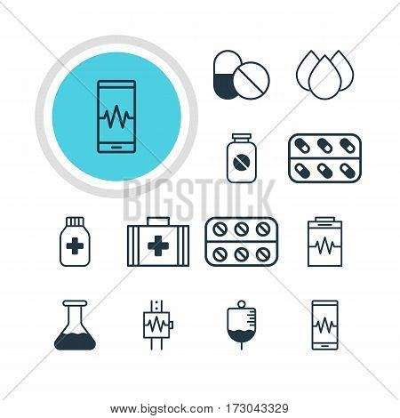 Vector Illustration Of 12 Health Icons. Editable Pack Of Pills, Treatment, Medical Bag And Other Elements.