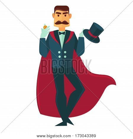 Circus illusionist magician showing coin trick. Man with magic hat and conjurer mantle. Vector flat icon