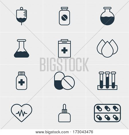 Vector Illustration Of 12 Health Icons. Editable Pack Of Experiment Flask, Heart Rhythm, Medicament Pitcher And Other Elements.