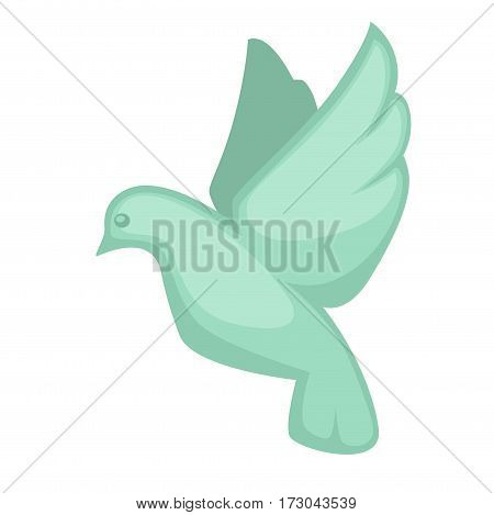 Glass dove souvenir toy symbol in flat design. Vector illustration of bird symbol of peace and love in flying position with straightened wings. Flying pigeon little glass statue isolated on white