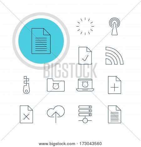 Vector Illustration Of 12 Web Icons. Editable Pack Of Router, Secure Laptop, Server And Other Elements.