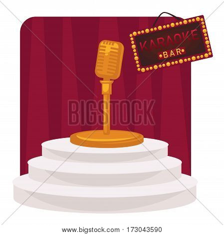 Karaoke round white stage with stairs and golden microphone on stand in front of dark red curtains with colorful hanging plate. Relaxation in karaoke bar vector illustration concept on white
