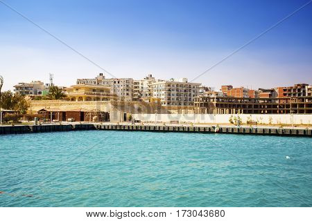 Egypt. Hurghada. View from the sea. New complexes under construction. 2017.