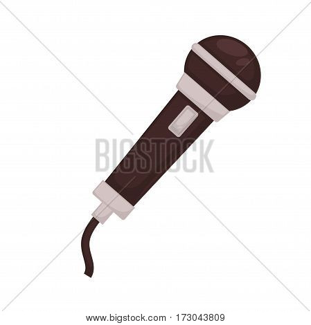 Microphone isolated on white background. Sound transmitter media technology device for singing, broadcasting and entertainment. Professional speech mic vector illustration in flat style design