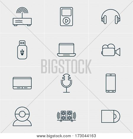 Vector Illustration Of 12 Device Icons. Editable Pack Of Headset, Loudspeaker, Sound Recording And Other Elements.
