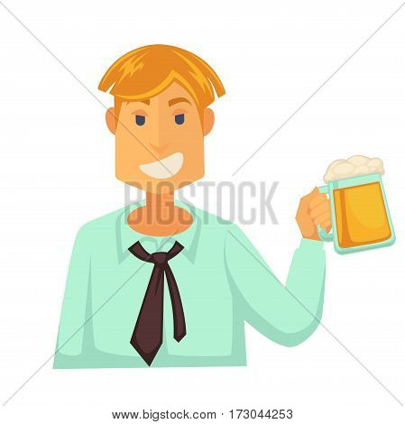 Man holding wide glass of beer with foam isolated on white background. Smiling character in t-shirt and tie vector illustration in flat style. Light refreshing alcoholic drink in cheering boy hand