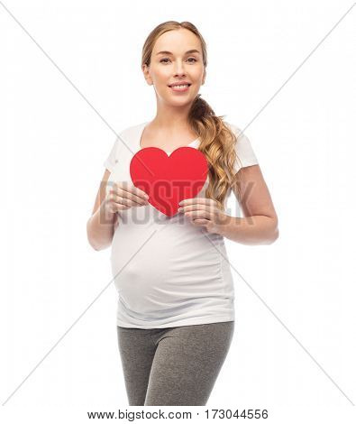 pregnancy, love, people and expectation concept - happy pregnant woman with red heart