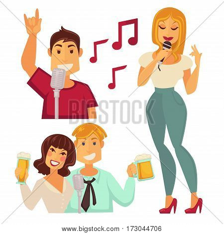 People entertaining in karaoke bar isolated on white. Couple with glasses of beer, man singing in microphone and woman announcing something vector illustration in cartoon style flat design
