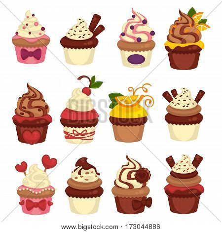 Cupcakes and cakes logo templates. Bakery desserts chocolate and fruit muffins for patisserie and cafe menu. Pastry icons for wedding and birthday vector design element