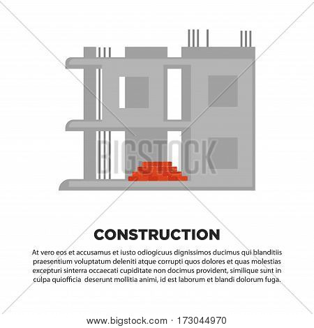 Construction of house banner. Unfinished concrete building with red bricks. Advertisement banner of building company design vector illustration in flat style. Construction of multi story dwelling