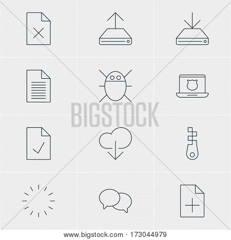Vector Illustration Of 12 Web Icons. Editable Pack Of Waiting, Fastener, Delete Data And Other Elements.