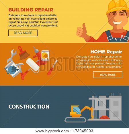Building and home repair construction vector web banners set. Equipments for building house and tools, smiling builder. Collection of tools and brushes with paints and crane for house construction