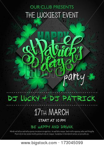 Vector st Patricks day party poster with lettering, clover leaf, doodle branches and rhombus.